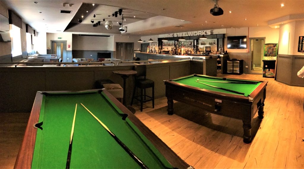 pool tables and sports bar with large projector screen tv with sky and bt sports at the steelworks bar and grill motherwell