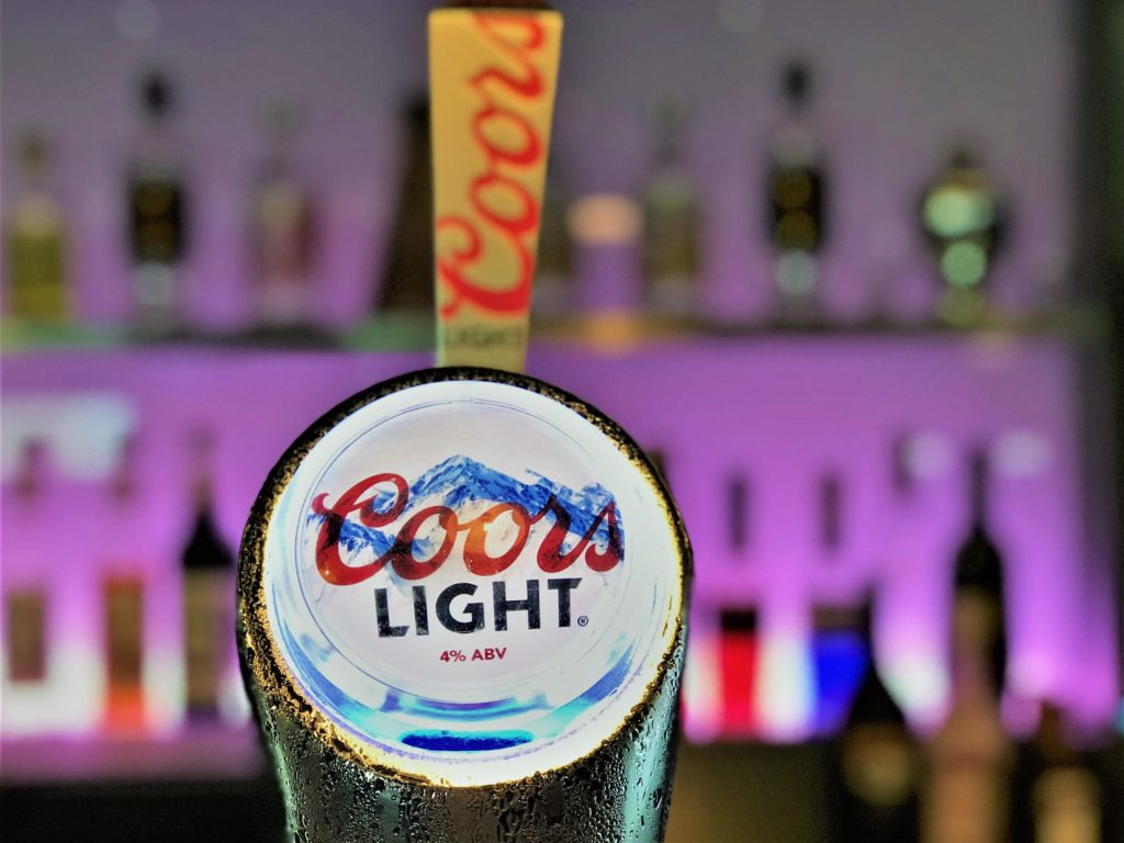 Coors light beer at the steelworks bar and grill motherwell