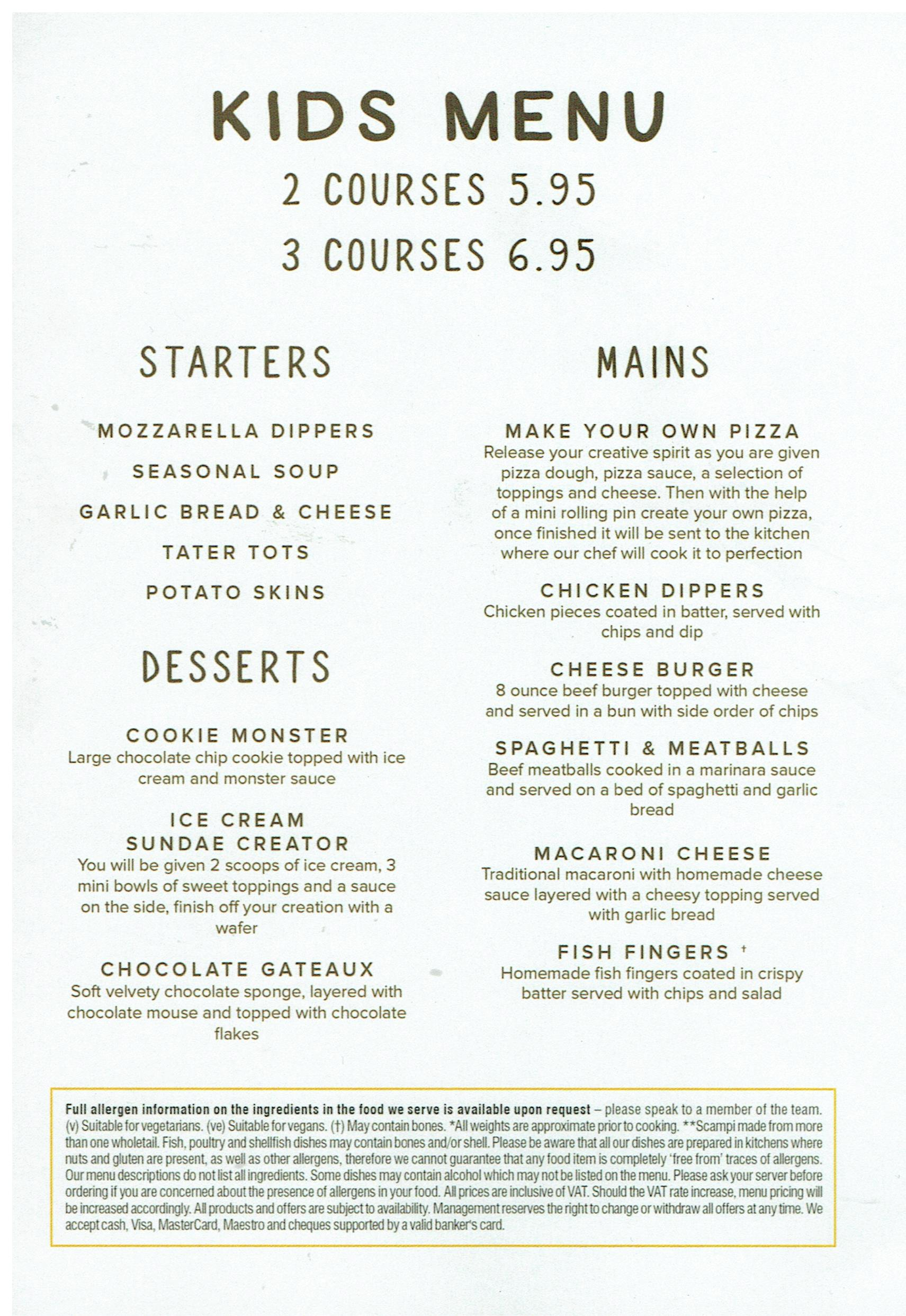 kids food menu steelworks bar and grill motherwell